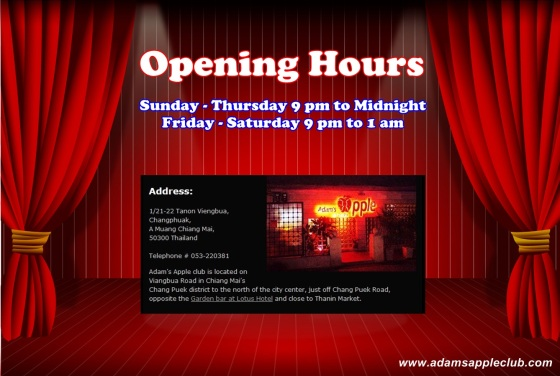 18.06.2017 Opening Hours Adams Apple Club Chiang Mai b