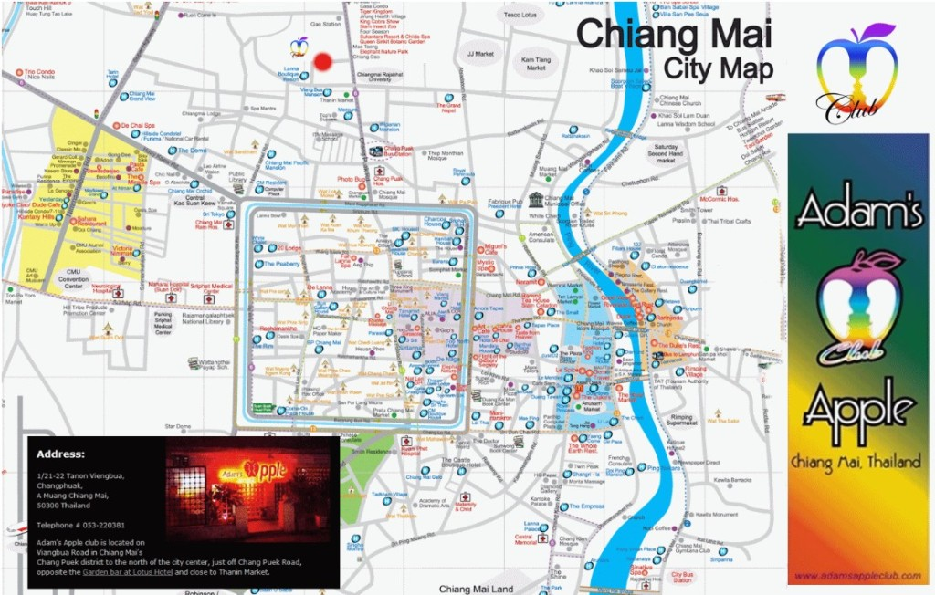 MAP from Chiang Mai Map with Adam's Apple Club