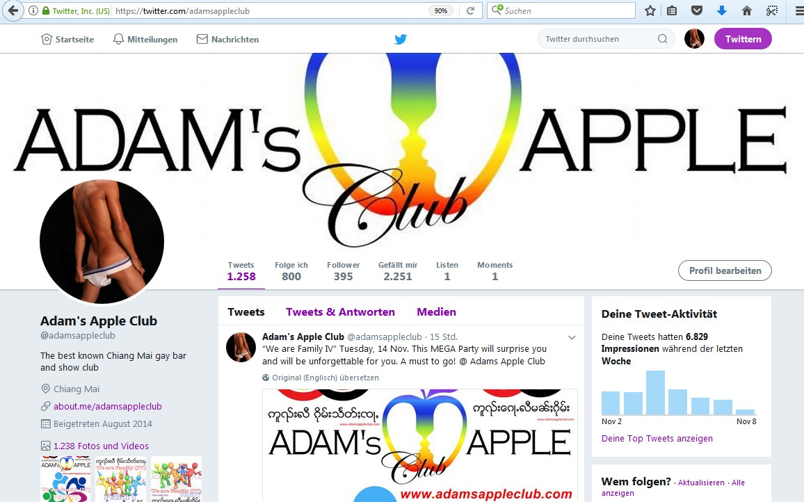 Follow us on twitter Adams Apple Club Chiang Mai  Gay