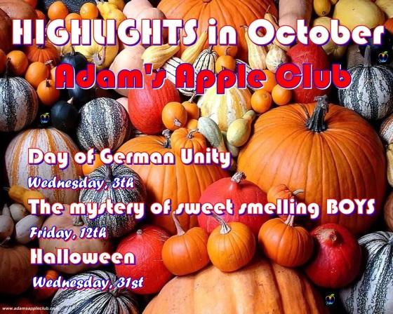 01.10.2018 highlights in October Adams Apple Club c