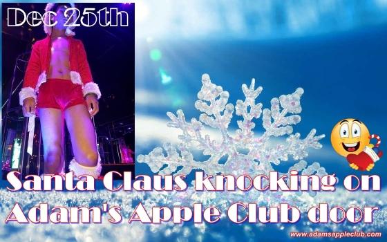 Santa Claus knocking on Adam's Apple Club door