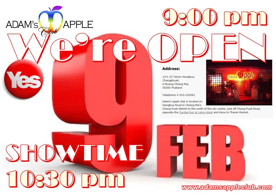 We're OPEN Sunday 9th February Adams Apple Club