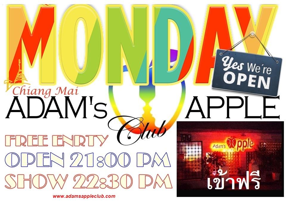 MONDAY - A NEW WEEK - START WITH US Adams Apple Club Gay Bar Chiang Mai Adult Entertainment Ladyboy Cabaret Go-Go Bar Nightclub Nightlife