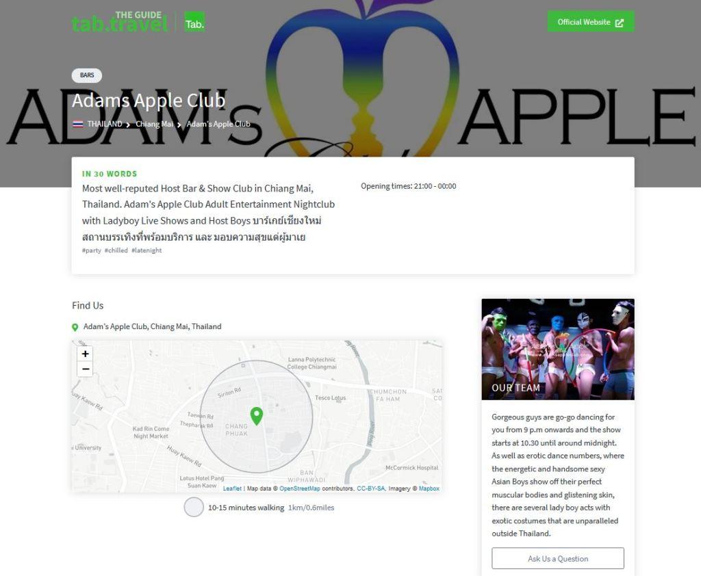 Listing for Adam's Apple Club to The tab.travel Guide Ladyboy Show Adult Entertainment Gay Bar Host Bar Nightclub Gay Places CNX
