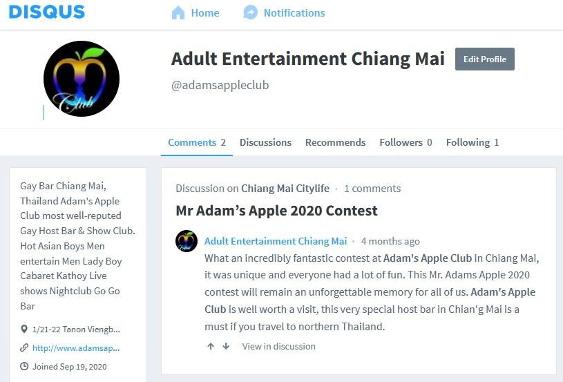 Disqus Blog Adams Apple Club Gay Bar Chiang Mai Adult Male Entertainment Nightclub Nightlife Ladyboy Liveshow Asianboy Host Bar LGBTQ Thai Boy