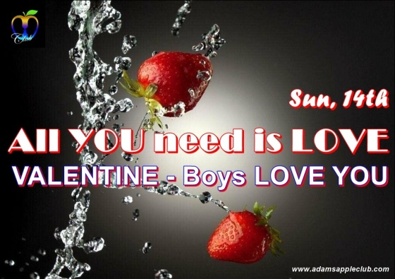 All YOU need is LOVE Valentine 2021 Boys LOVE YOU Gay Bar Chiang Mai Adult Male Entertainment Nightclub Host Bar Gay Club with Liveshow Ladyboy Asian Boys