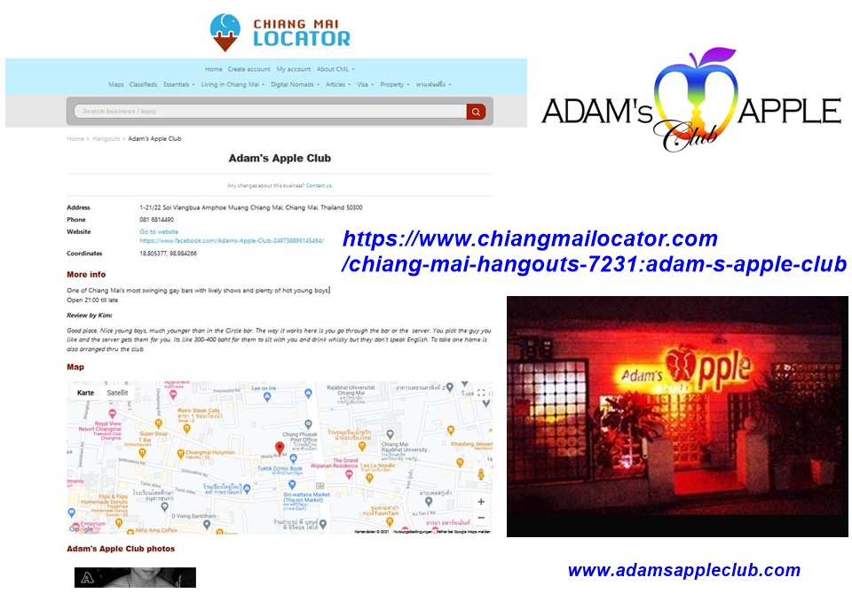 Chiang Mai Locator online directory Adams Apple Club social network for professionals, businesses listed with exact location, description and pictures