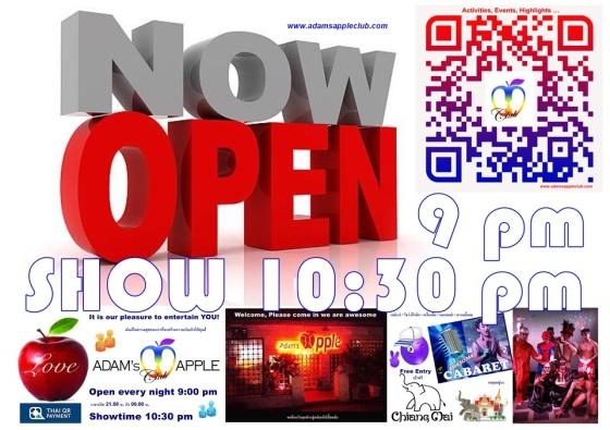 NOW OPEN Gay Bar Chiang Mai Adams Apple Club Adult Entertainment Nightclub Ladyboy Liveshow Thai Boys LGBTQ Thailand Go-Go Bar