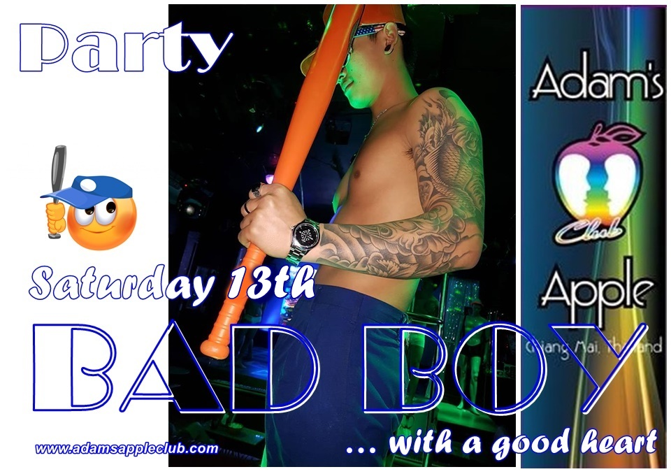 Bad Boy Party 2021 Adams Apple Club Gay Bar Chiang Mai Nightclub Nightlife Host Bar Gay Club with Adult Entertainment Ladyboy Liveshows LGBTQ