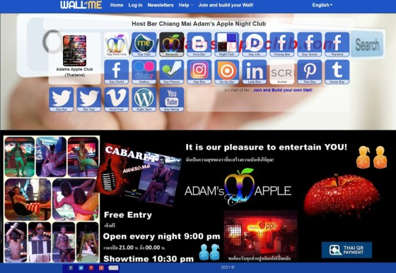 WALL OF ME Adams Apple Club Gay Bar Chiang Mai Adult Entertainment men entertain men Ladyboy Liveshows Asian Boys Host Club LGBTQ